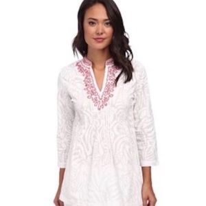 Lilly Pulitzer Sarasota white beaded tunic top